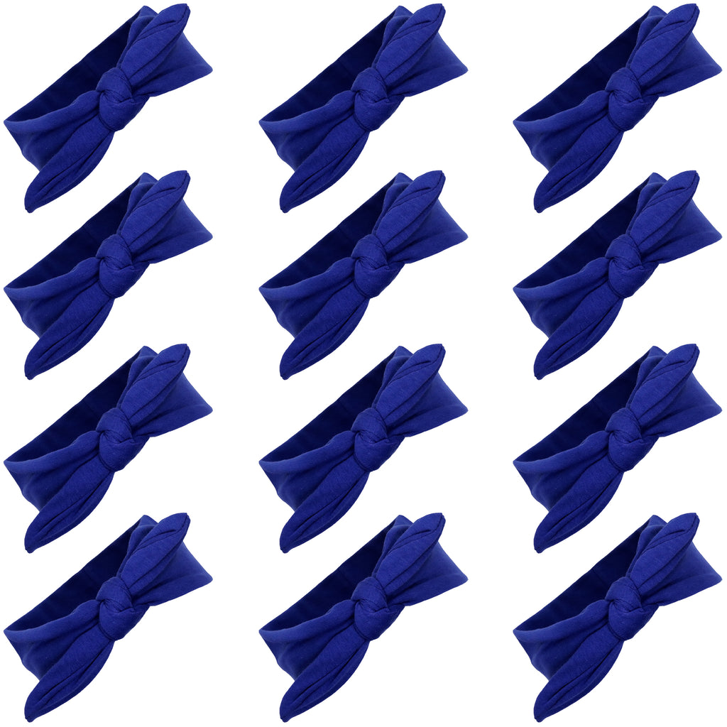 Knotted Bow Cotton Stretch Headbands Blue 12