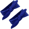 Knotted Bow Cotton Stretch Headbands Blue 2