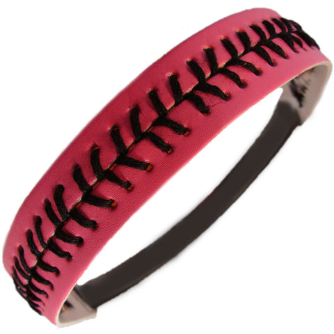 Softball Headband Non Slip Leather Sports Head Bands Pink Black