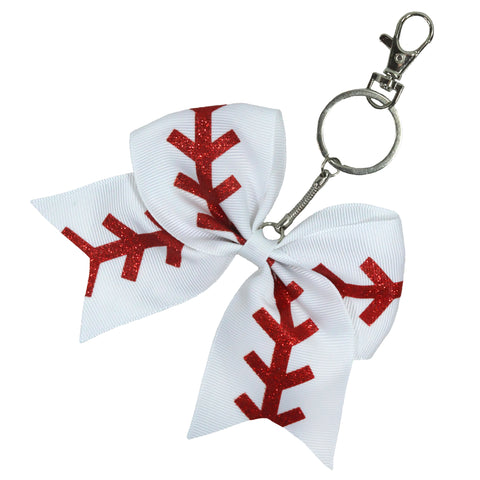 Baseball Sports Keychains for Girls Bow Key Chain
