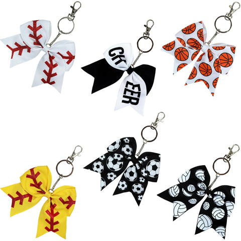 Sports Keychains for Girls Softball Volleyball Basketball Soccer Ribbon Cheer Bow Keychain