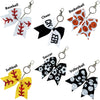 Softball Seam Sports Keychains for Girls Bow Key Chain