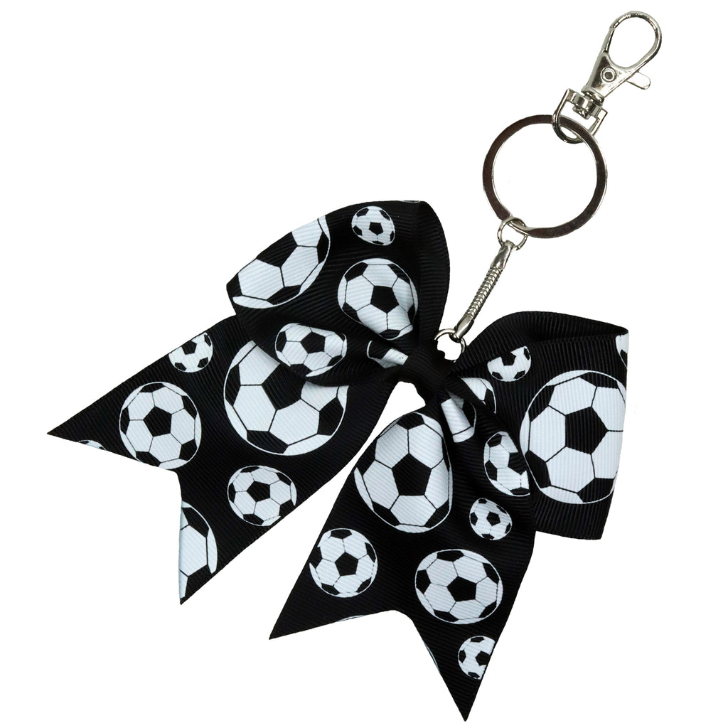 Soccer Sports Keychains for Girls Bow Key Chain