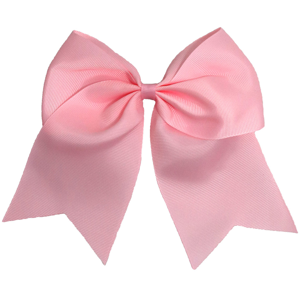 "1 Light Pink Cheer Bow for Girls 7"" Large Hair Bows with Ponytail Holder Ribbon"