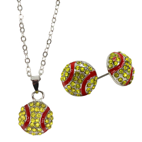 Softball Rhinestone Necklace and Earring Set