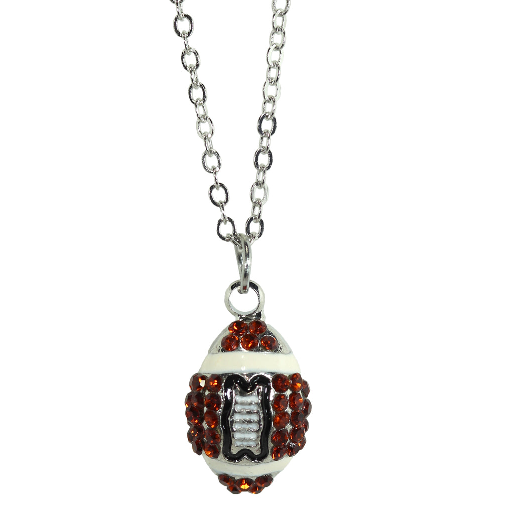Football Necklace Rhinestone