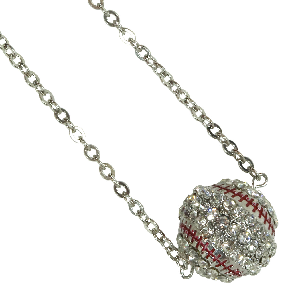 Baseball Necklace Rhinestone Sphere Ball For Girls Boys Teens Gift for Mom Bling Accessory