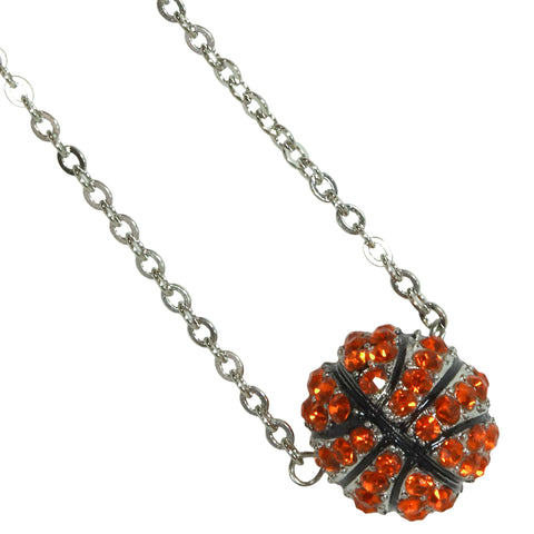 Basketball Necklace Rhinestone Sphere Ball For Girls Boys Teens Gift for Mom Bling Accessory