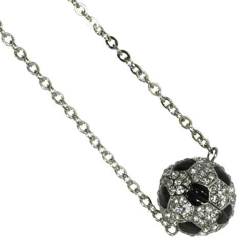 Soccer Necklace Rhinestone Sphere Ball For Girls Boys Teens Gift for Mom Bling Accessory