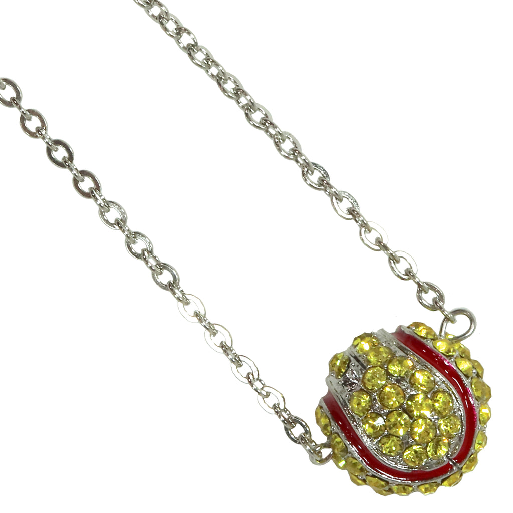 Softball Necklace Rhinestone Sphere Ball For Girls Teens Gift for Mom Bling Accessory