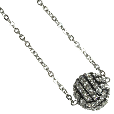 Volleyball Necklace Rhinestone Sphere Ball For Girls Boys Teens Gift for Mom Bling Accessory