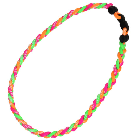 Braided Sports Necklace Softball Necklaces Titanium Power Necklace Orange Green Pink