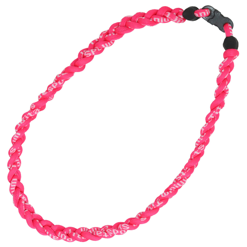 Braided Sports Necklace Softball Necklaces Titanium Power Necklace Pink