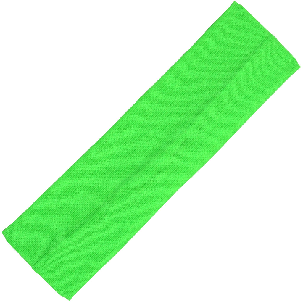 Cotton Headband Soft Stretch Headbands Sweat Absorbent Elastic Head Band Neon Green
