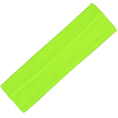 Cotton Headband Soft Stretch Headbands Sweat Absorbent Elastic Head Band Neon Yellow