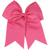 "1 Medium Pink Cheer Bow for Girls 7"" Large Hair Bows with Ponytail Holder Ribbon"