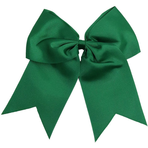 "1 Forest Green Cheer Bow for Girls 7"" Large Hair Bows with Ponytail Holder Ribbon"
