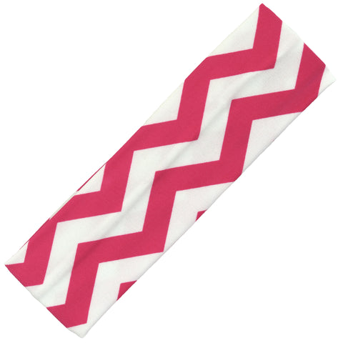 Cotton Headband Soft Stretch Headbands Sweat Absorbent Elastic Head Band Chevron Pink