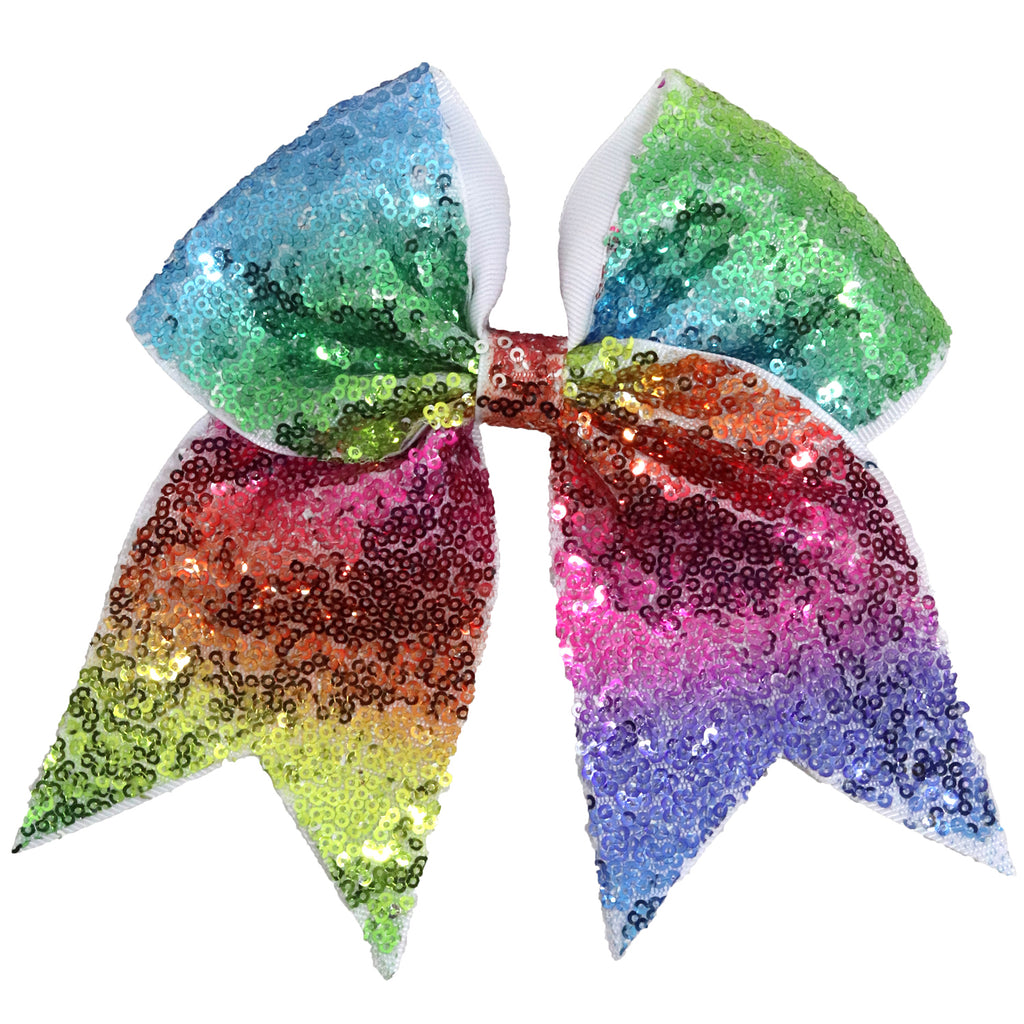 "1 Rainbow Sequin Cheer Bow for Girls 7"" Large Hair Bows with Ponytail Holder Ribbon"