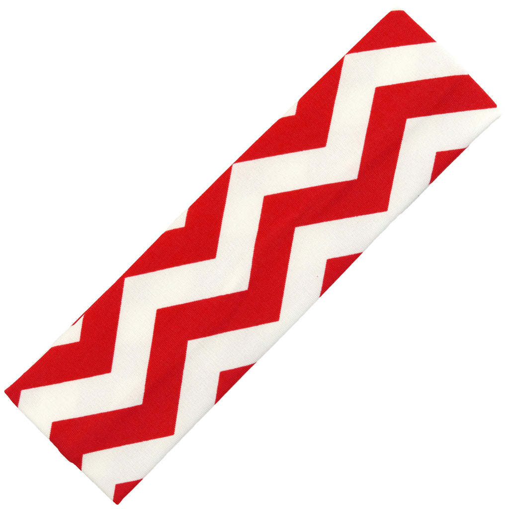 Cotton Headband Soft Stretch Headbands Sweat Absorbent Elastic Head Band Chevron Red
