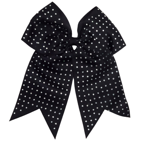"1 Rhinestone Covered Black Cheer Bow for Girls 7"" Large Hair Bows with Ponytail Holder Ribbon"