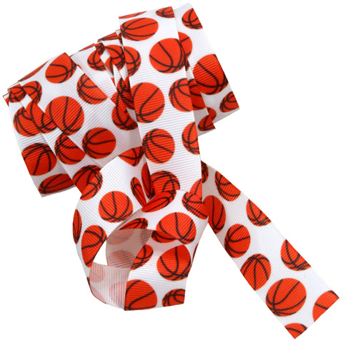 Basketball Ribbon 5 Yards Sports Ribbon to use for Ponytail Holders Streamers on Your Bag to Show Spirit or Crafts