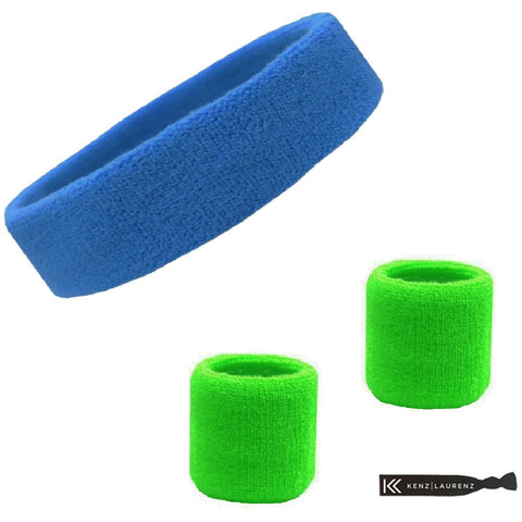Sweatband Set 1 Terry Cotton Headband and 2 Wristbands Pack Cornflower Bright Green