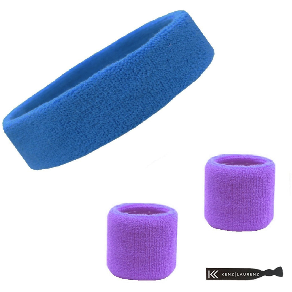 Sweatband Set 1 Terry Cotton Headband and 2 Wristbands Pack Cornflower Purple