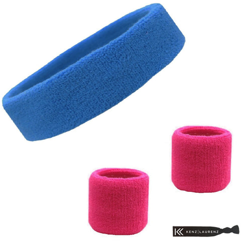 Sweatband Set 1 Terry Cotton Headband and 2 Wristbands Pack Cornflower Hot Pink