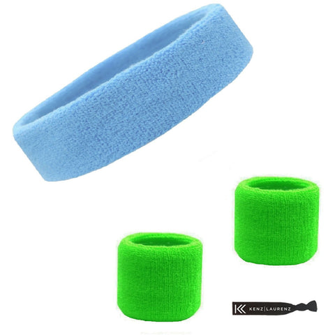 Sweatband Set 1 Terry Cotton Headband and 2 Wristbands Pack Light Blue Neon Green