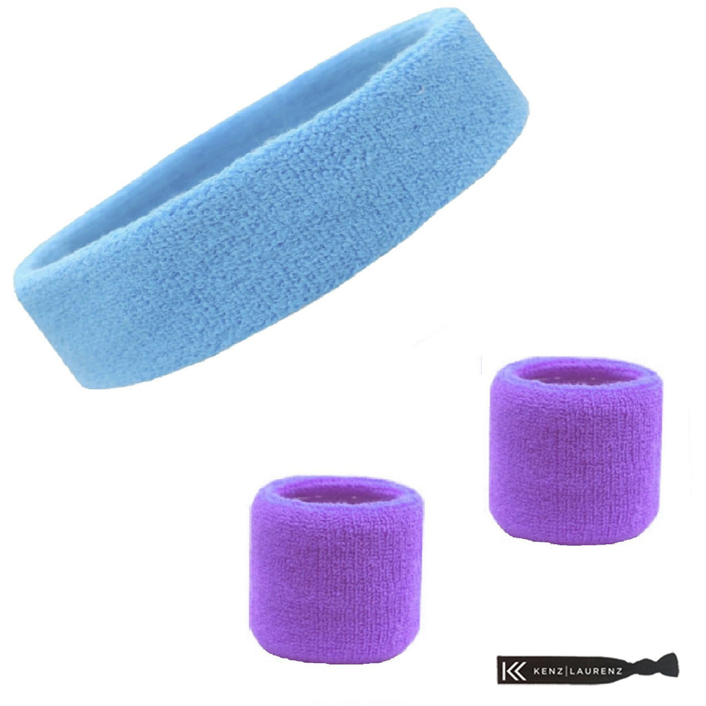 Sweatband Set 1 Terry Cotton Headband and 2 Wristbands Pack Light Blue Purple