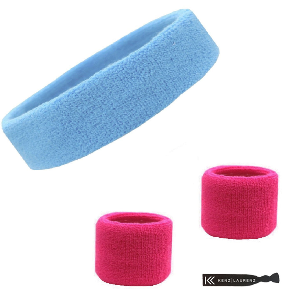 Sweatband Set 1 Terry Cotton Headband and 2 Wristbands Pack Light Blue Hot Pink