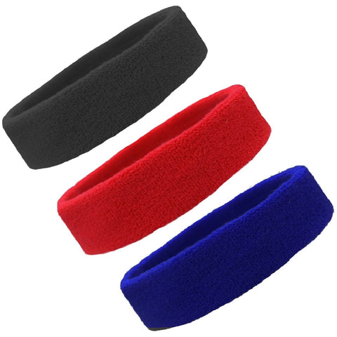 Sweatbands Terry Cotton Sports Headband Sweat Absorbing Head Band Black Red Blue 3