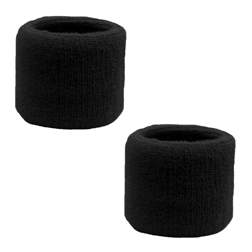 Sweatband for Wrist Terry Cotton Wristbands 2 Pack Black