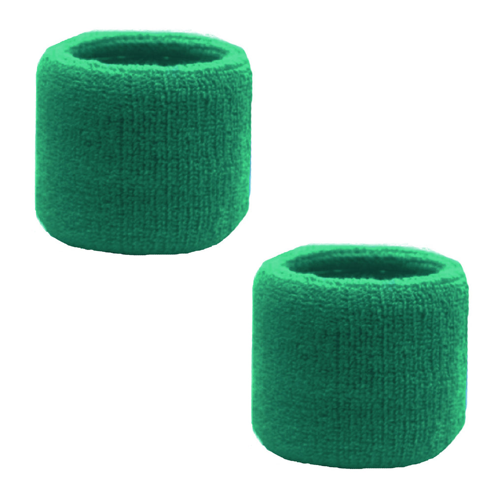 Sweatband for Wrist Terry Cotton Wristbands 2 Pack Green