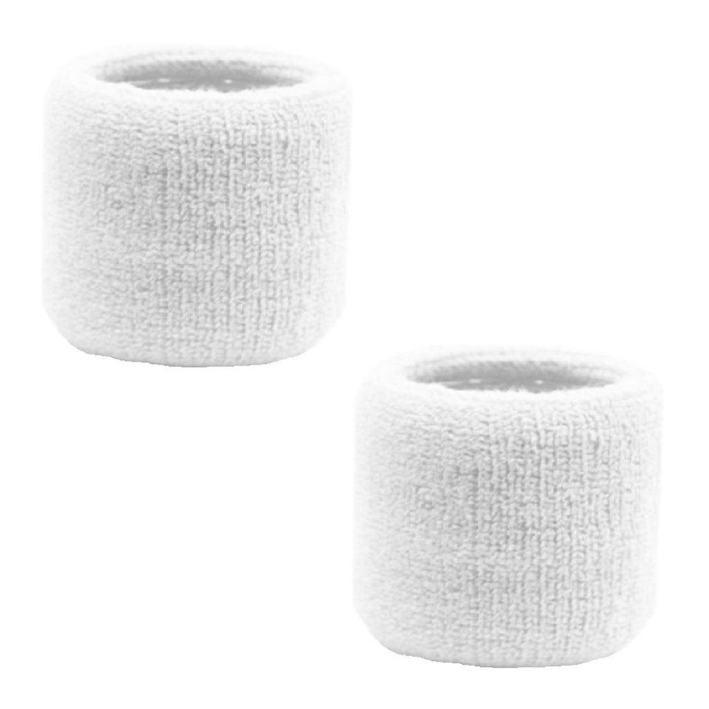 Sweatband for Wrist Terry Cotton Wristbands 2 Pack White