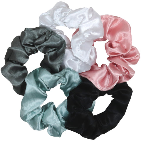 Satin Silky Scrunchies Ponytail Holder Hair Ties Scrunchy Scrunchie for Women 5 Pack