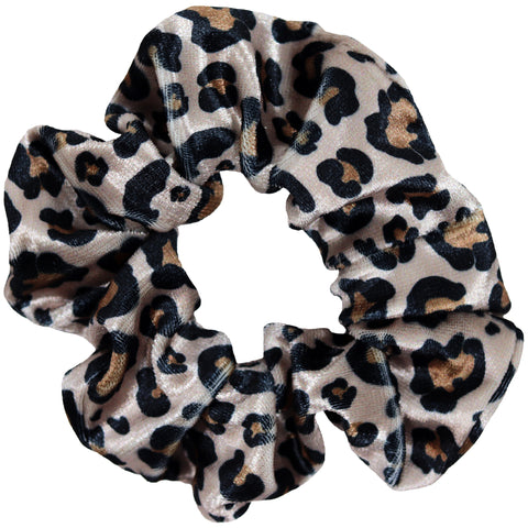 Velvet Cheetah Scrunchie Cotton Hair Ties Ponytail Holder Scrunchy Elastics