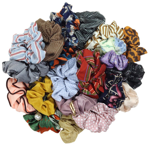 Mystery Grab Bag 3 Pack Scrunchie Cotton Hair Ties Ponytail Holder Scrunchy Elastics