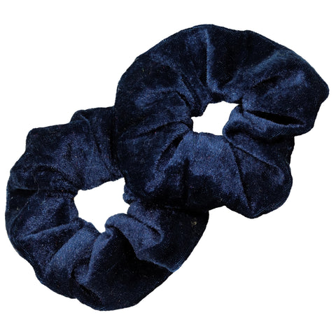 Velvet Scrunchies 2 Pack Navy