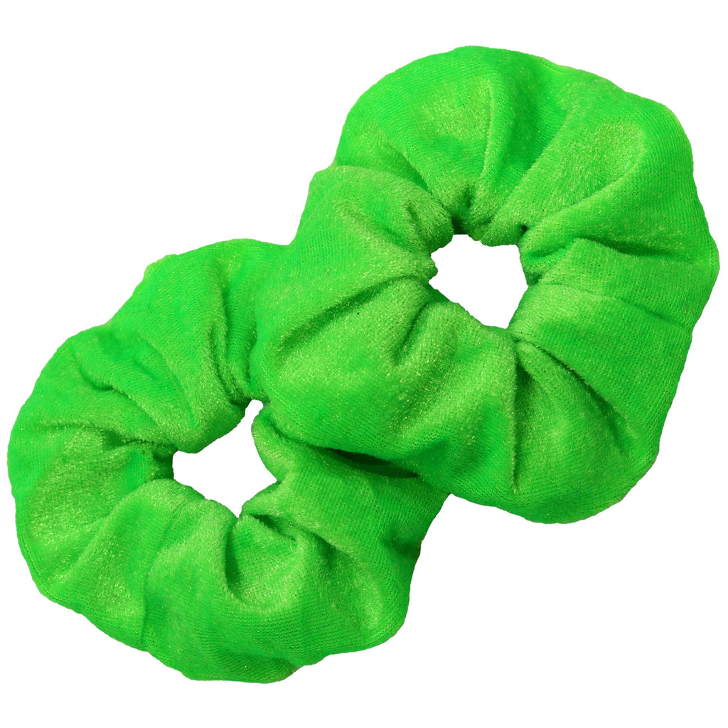 Velvet Scrunchies 2 Pack Neon Green