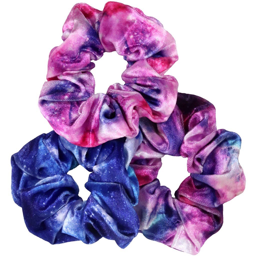 Tie Dye Velvet Scrunchies 3 Pack Ponytail Holder Hair Ties