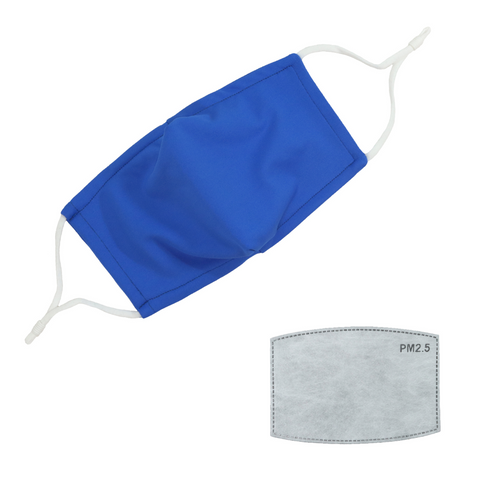 Blue Face Mask With Carbon Filter Pocket Washable Reusable Fabric Cloth Material Adjustable Straps