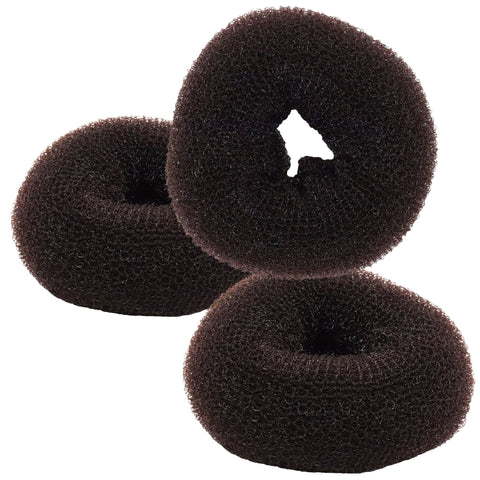 Donut Bun Maker 3 Pack Brown Magic Hair DIY Pony For Long Hair