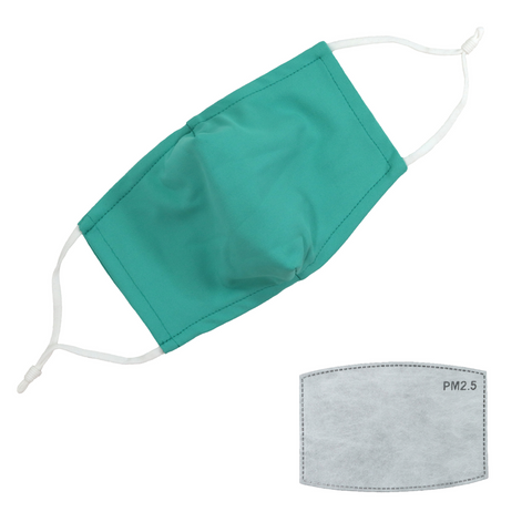 Turquoise Face Mask With Carbon Filter Pocket Washable Reusable Fabric Cloth Material Adjustable Straps