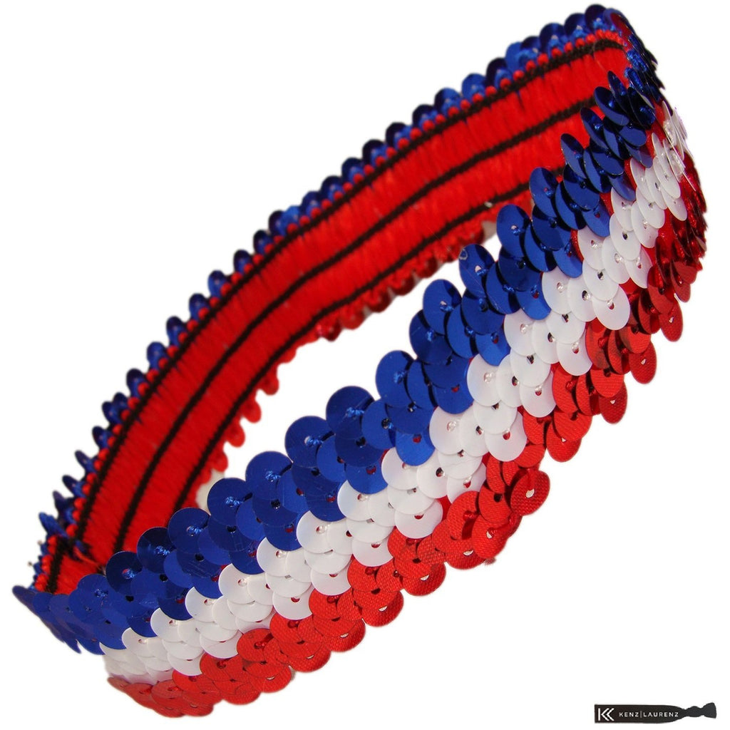 Sequin Headband Girls Headbands Sparkly Hair Head Bands Red White Blue