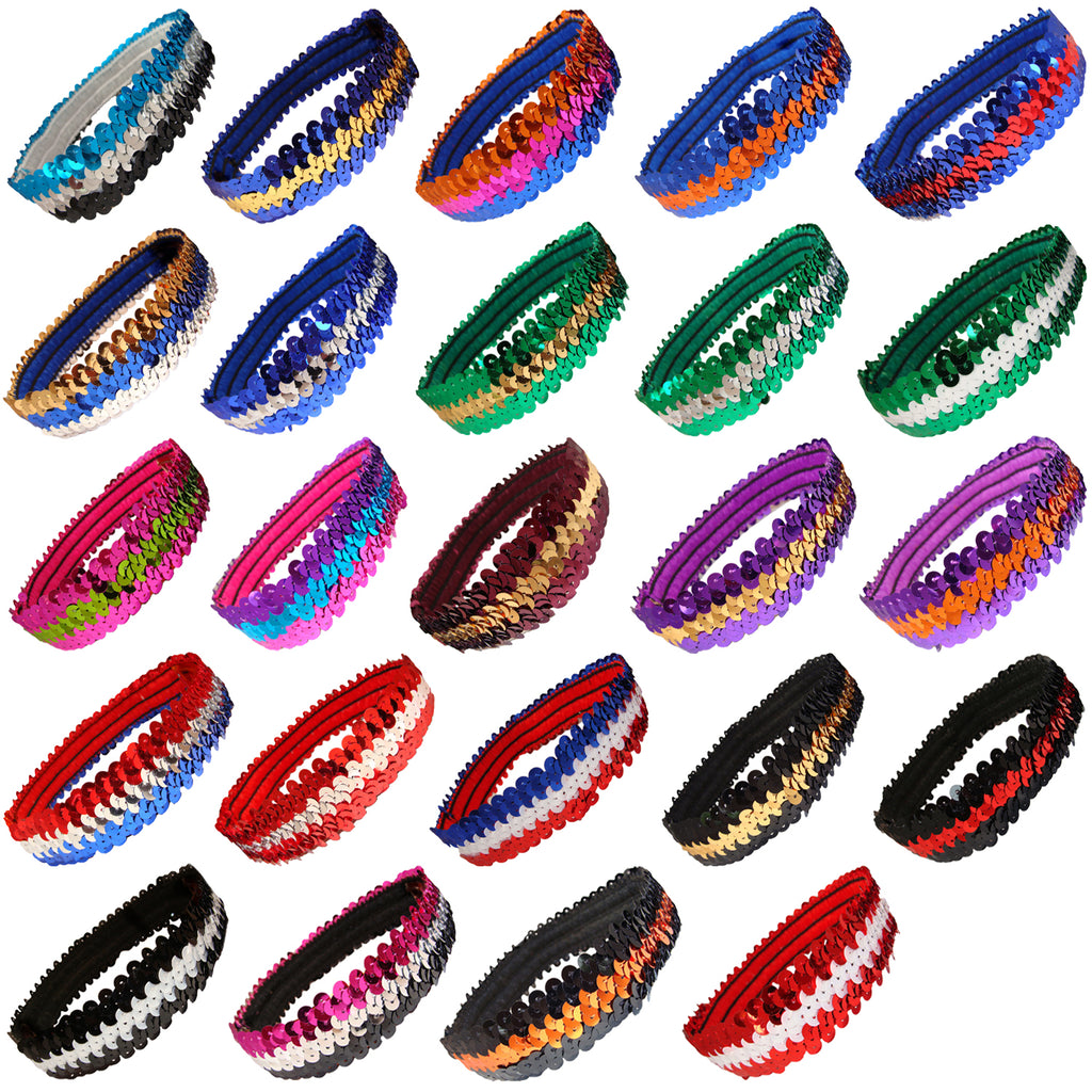 Sequin Headband Girls Headbands Sparkly Flapper Stle Hair Head Bands 2 Tone You Pick Colors & Quantities