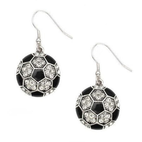 Soccer Earrings Hook Earrings Rhinestone Jewelry