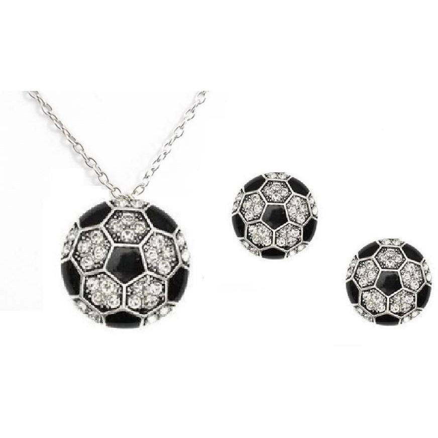 Soccer Necklace Set Post Earrings Rhinestone Necklace