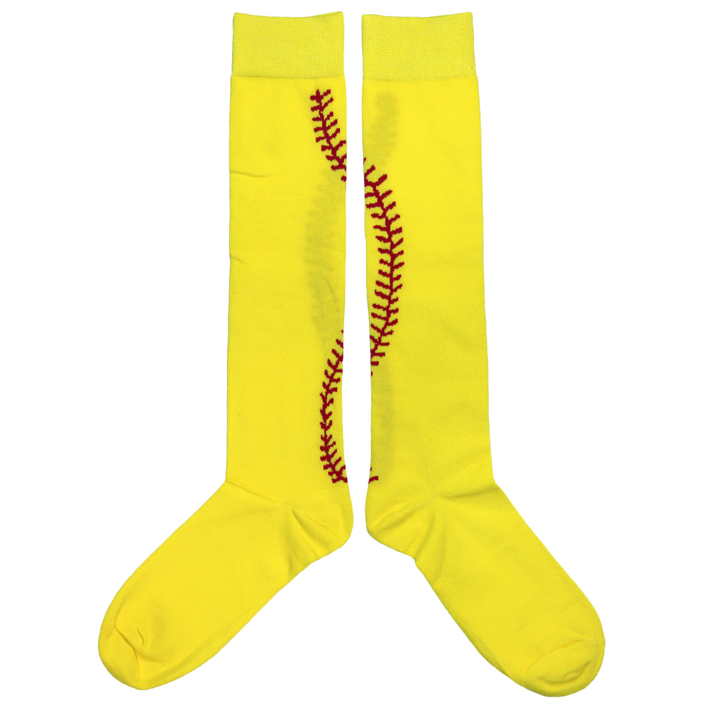 Softball Socks Yellow Softball with Red Stitches in Crew Length